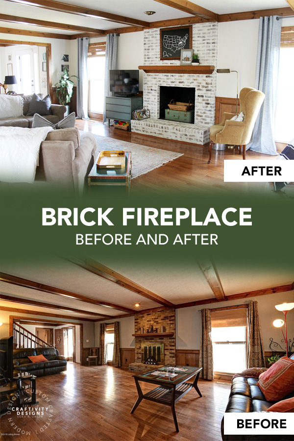 Brick Fireplace Before and After German Schmear to Brighten a Dark Room