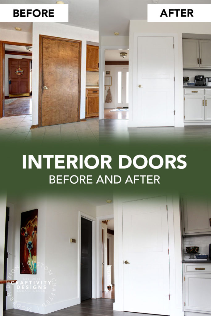 Interior Doors Before and After Makeover with White Paint SW Pure White
