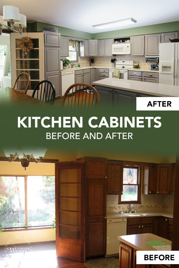 Kitchen Cabinets Before and After Makeover with Grey Paint
