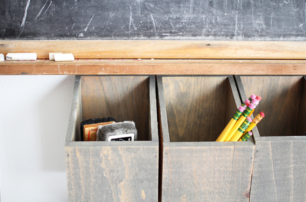Chalkboard and wall mounted wood bin organizer