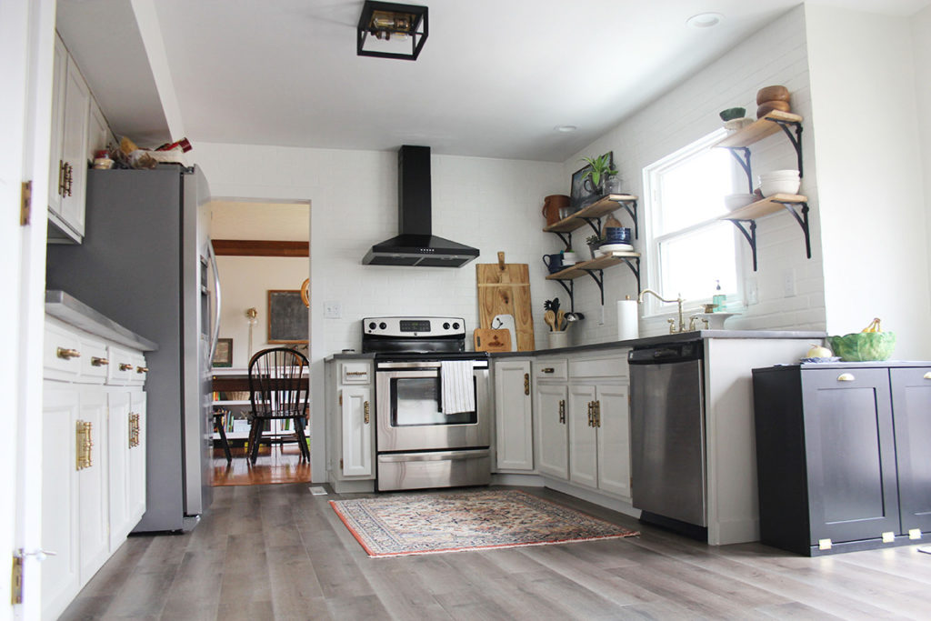 Kitchen After Modern Cottage Remodel, Mindful Gray Cabinets and Laminate Floors, by Craftivity Designs