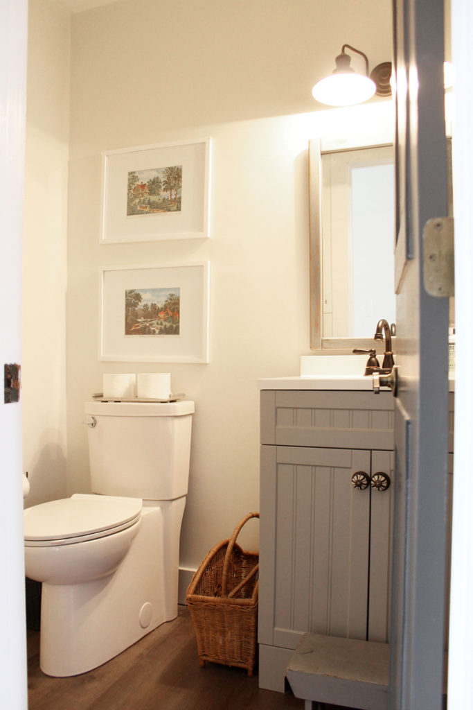 Powder Room After Modern Cottage Remodel, White Walls and Gray Vanity, by Craftivity Designs