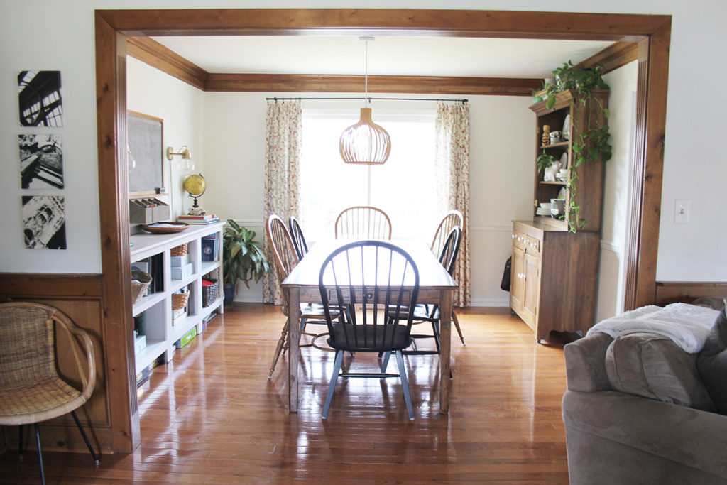 Dining Room After Modern Cottage Remodel, Wood Trim and White Walls, by Craftivity Designs