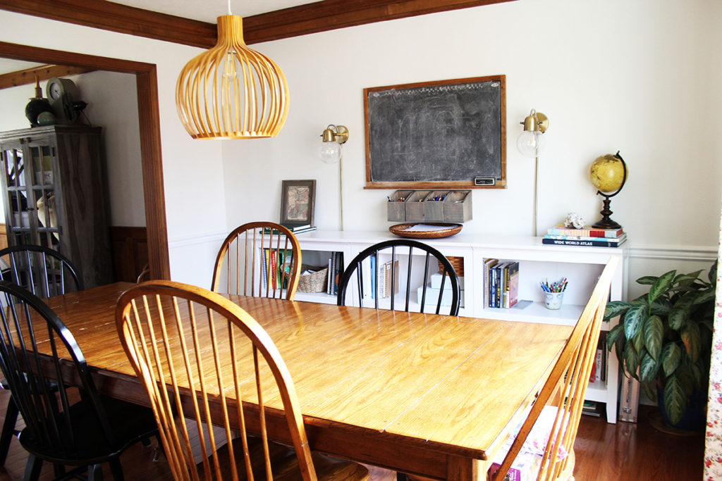 Dining Room and Homeschool Room, with White Shelves and Chalkboard
