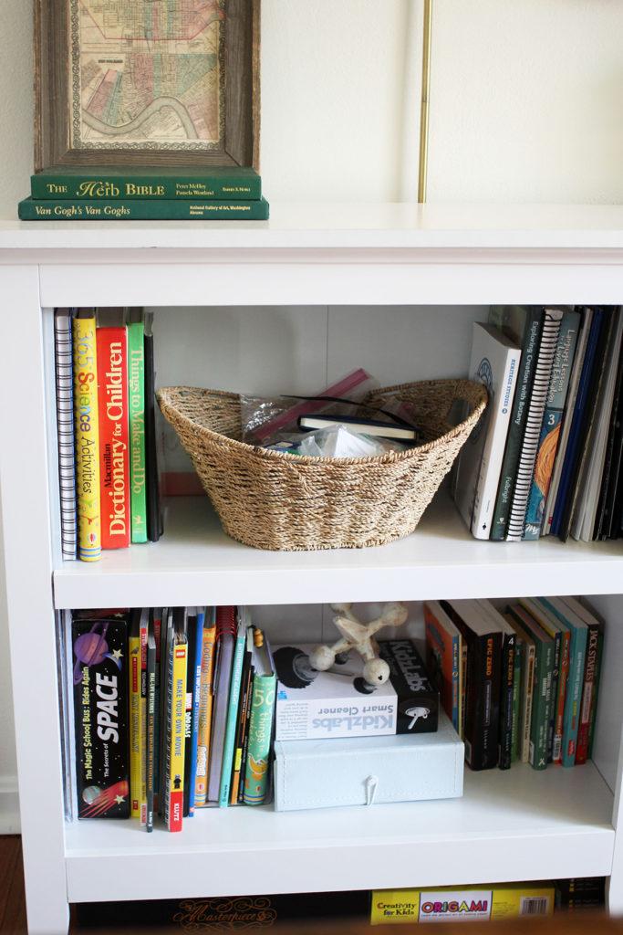 White bookshelves for homeschool organization