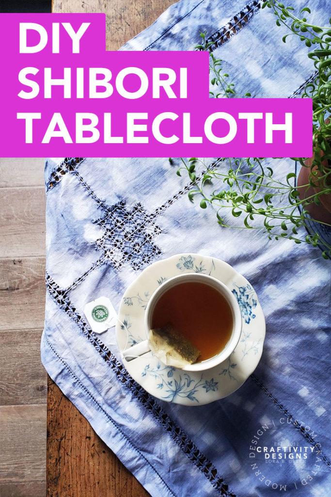 shibori tablecloth diy vintage linen