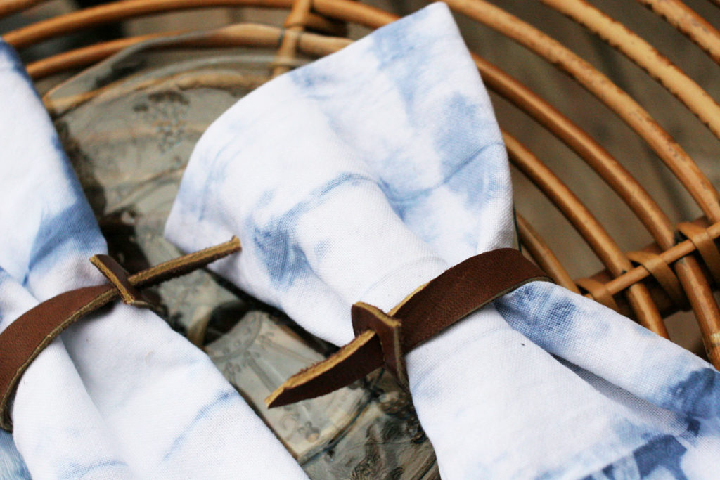 Shibori Fabric Napkins with Leather Napkin Rings