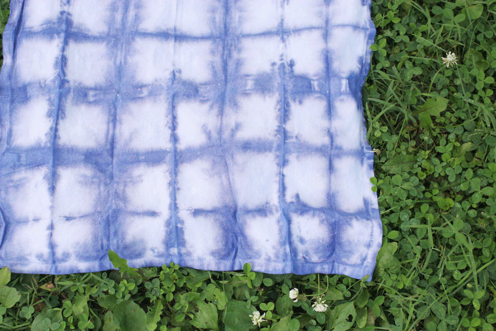 Shibori Cloth Napkin drying on grass