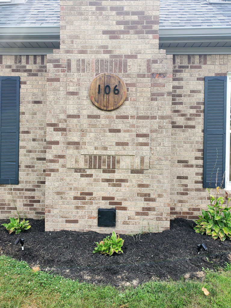 Bourbon Barrel Lid House Number Sign on Brick by Craftivity Designs