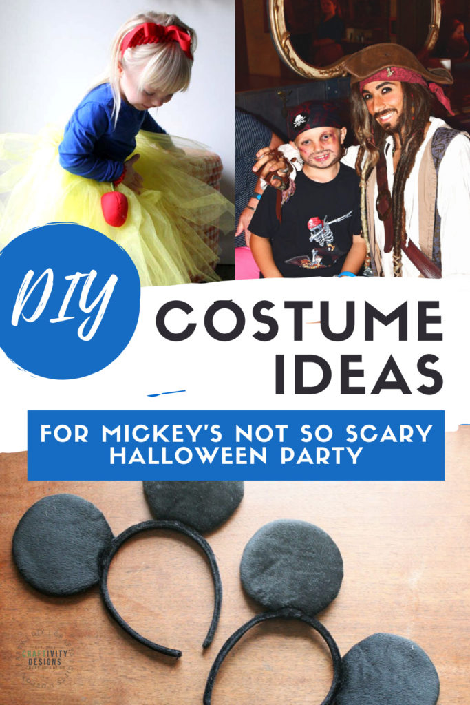 DIY Costume Ideas for Mickey's Not So Scary Halloween Party including Snow White, Pirate Jack Sparrow, the Mouseketeers and more!