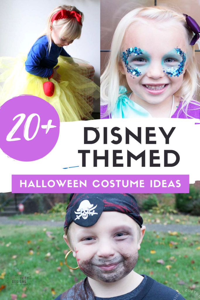 20+ Disney Themed Halloween Costume Ideas including Snow White, The Little Mermaid, and Pirate Jack Sparrow