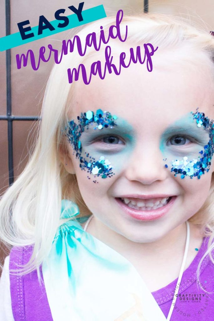Easy Mermaid Makeup with glitter for a DIY Mermaid Costume