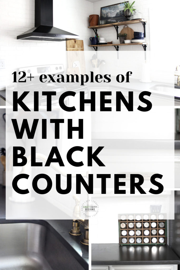 4 Photos of Black Kitchen Counters - Text Overlay: 12+ Examples of Kitchens with Black Counters
