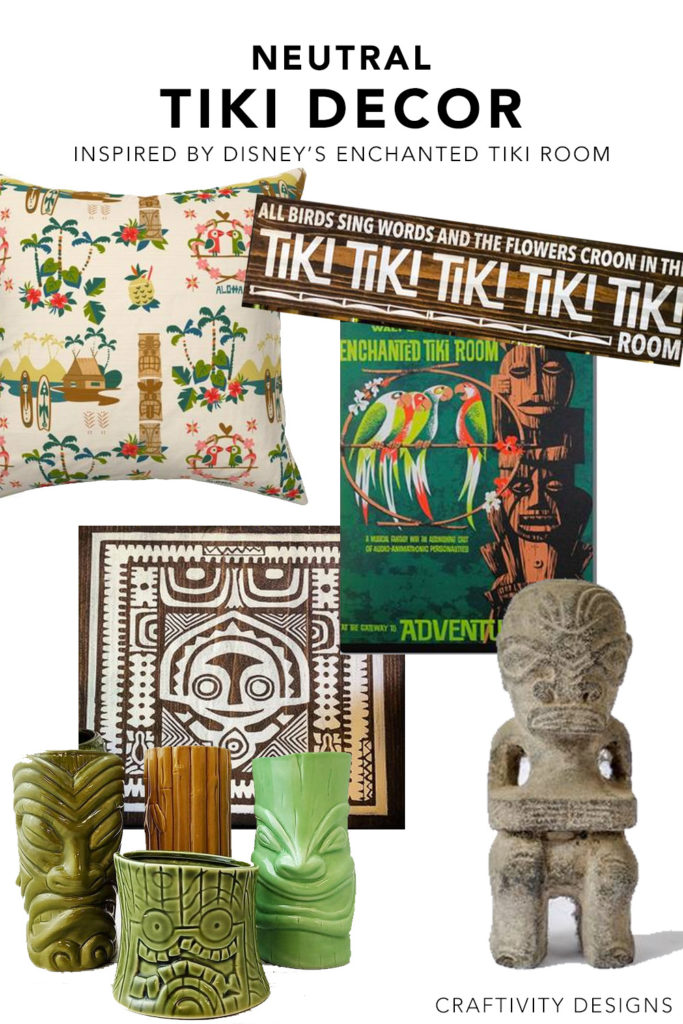 Neutral Tiki Decor Ideas inspired by Walt Disney's Enchanted Tiki Room