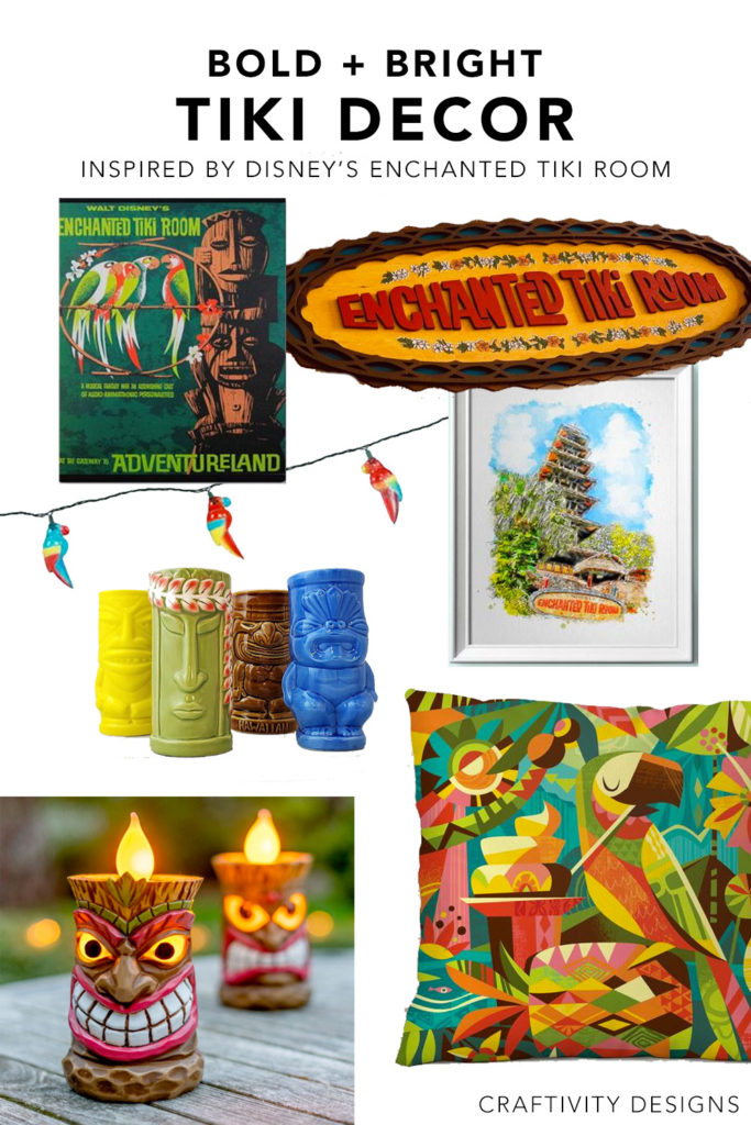 Colorful Tiki Decor Ideas inspired by Walt Disney's Enchanted Tiki Room