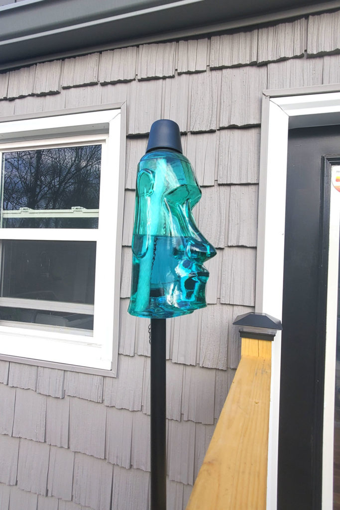 "Blue Glass Polynesian Style ""King Oahu"" Tiki Torch"