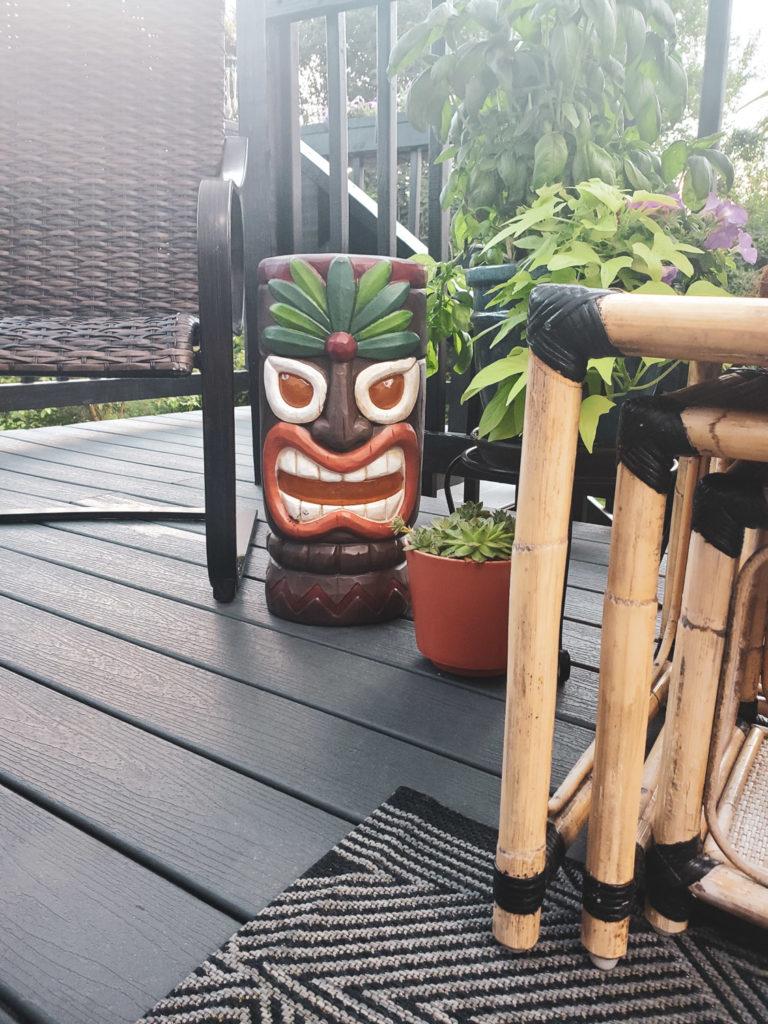Tiki Deck Decor including Tiki Statue, Succulents, and Bamboo Furniture Rattan Furniture