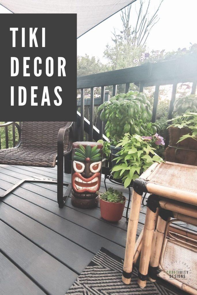 Tiki Decor Ideas with Tiki Statue, Bamboo Rattan Furniture, Succulents