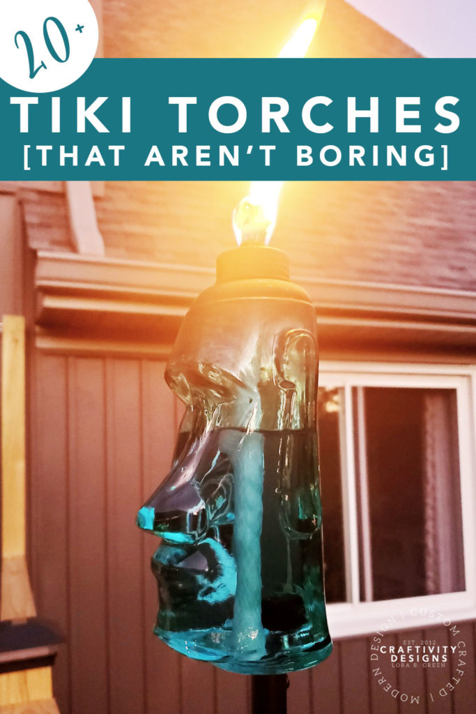 20+ tiki torches that aren't boring! with Blue glass Polynesian style tiki torch