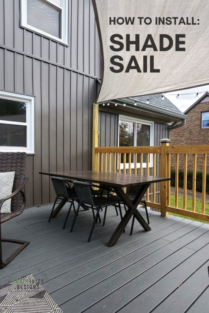 How to Install a Shade Sail, Shade Sail mounted over a composite deck with patio lights