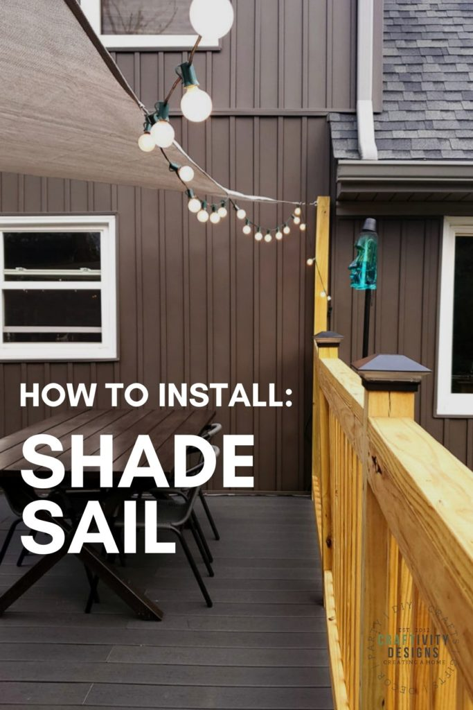 How to Install a Shade Sail, Shade Sail with Patio Lights over a Deck