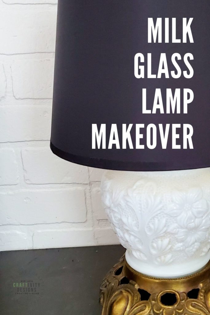 Antique Milk Glass Lamp with Modern Black Lampshade, Milk Glass Lamp Makeover
