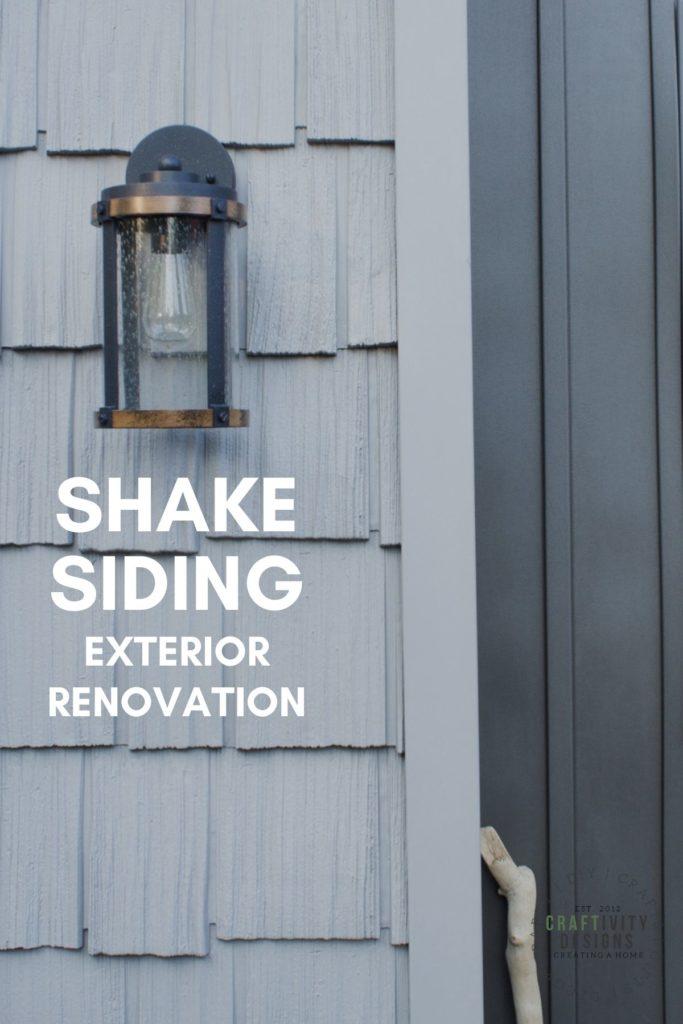 shake siding exterior renovation, gray shake, dark gray board and batten siding