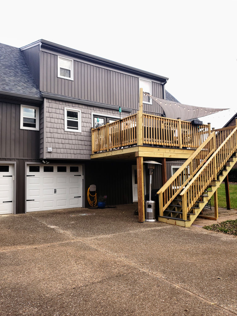 exterior renovation with board and batten vertical siding