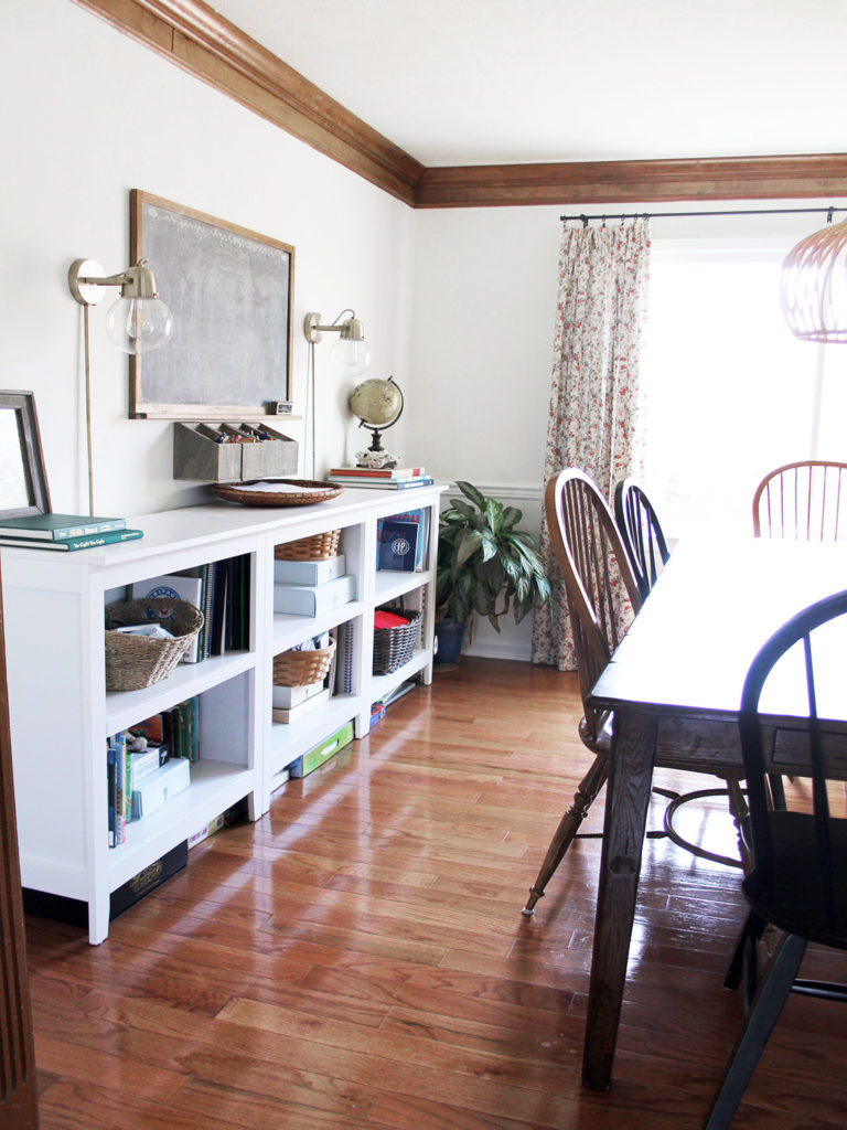 dining room with a mix of wood and white trim