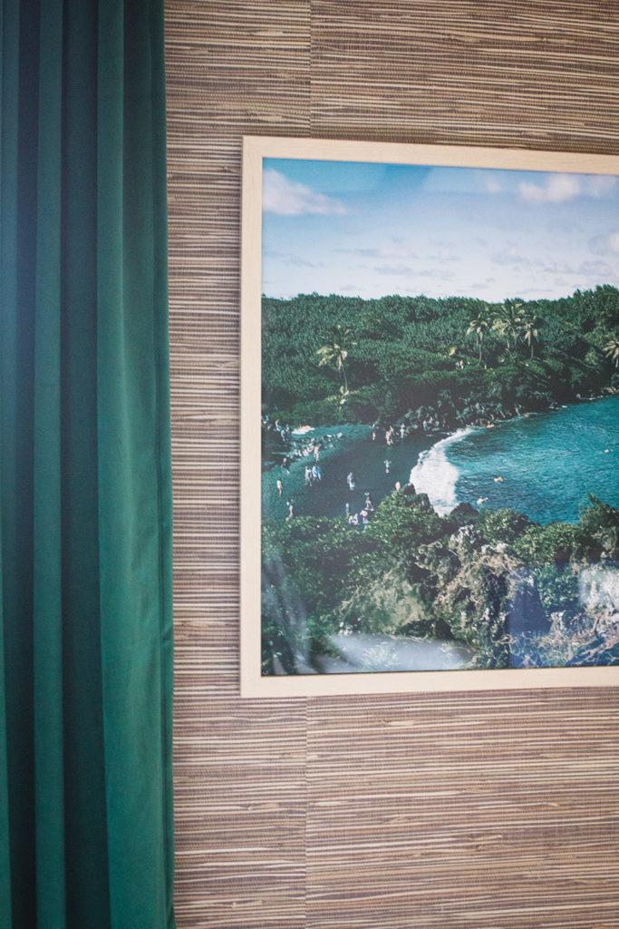 Large Hawaiian Art framed in Natural Wood on Grasscloth Wallpaper