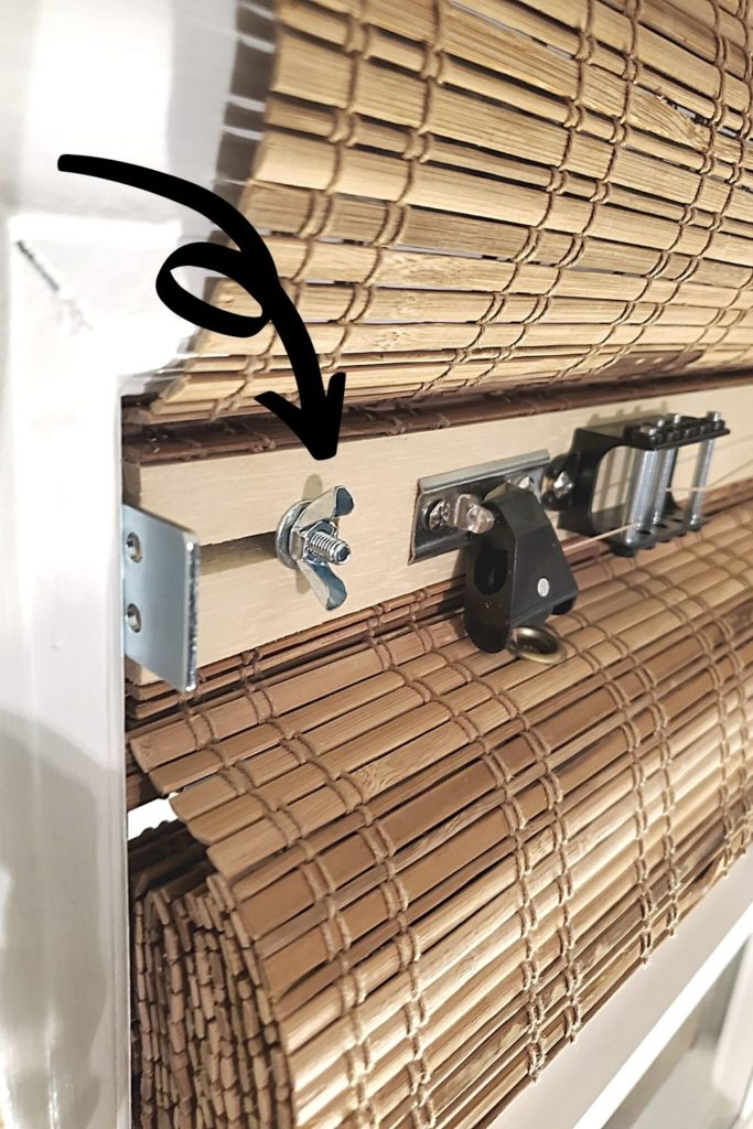 tighten butterfly nut to install bamboo blind