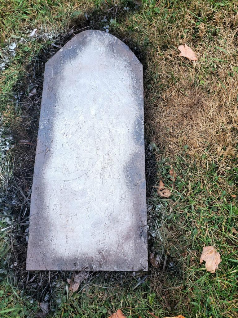 spray DIY halloween tombstones with spray paint