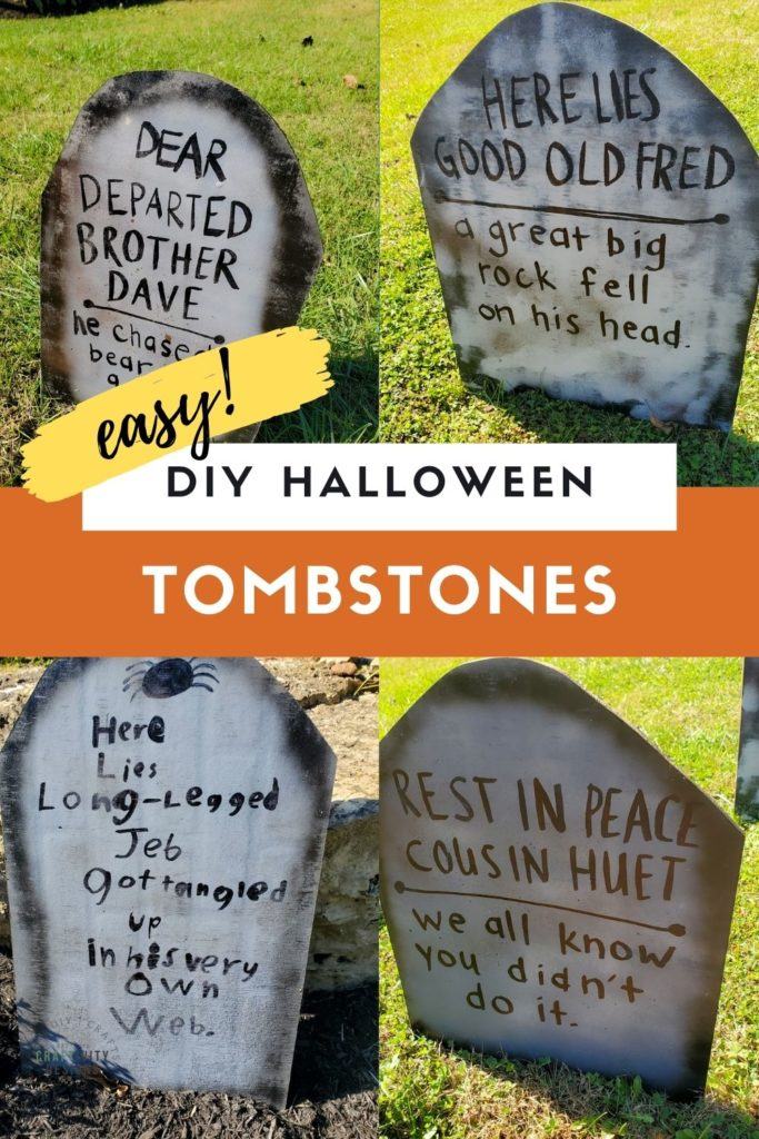 How to make easy DIY Halloween tombstones with funny tombstone sayings