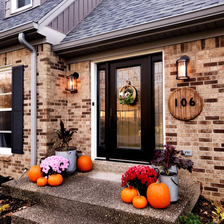 Fall Porch Decor with Pink and Purple Mums